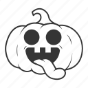 halloween, language, pumpkin, smile, tongue icon