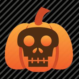 halloween, jack o lantern, orange, pumpkin, scary, scull, spooky icon