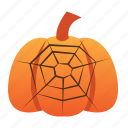 halloween, jack o lantern, orange, pumpkin, scary, spider, spooky, web icon
