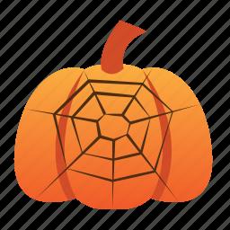 halloween, jack o lantern, orange, pumpkin, scary, spider, spooky, web icon