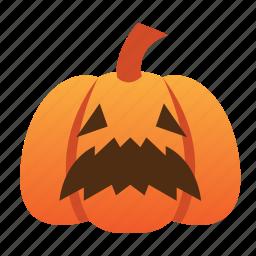 halloween, jack o lantern, orange, pumpkin, scared, scary, spooky icon
