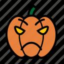 angry, emoji, halloween, jack-o-lantern, mad, pumpkin, upset icon