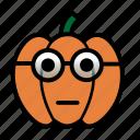 emoji, glasses, halloween, nerd, smiley, jack-o-lantern, pumpkin