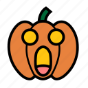 dread, emoji, halloween, panic, shocked, jack-o-lantern, pumpkin