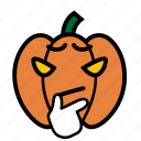 considering, emoji, halloween, jack-o-lantern, pumpkin, smiley, thinkging icon