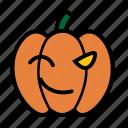 emoji, emoticon, halloween, smiley, wink, jack-o-lantern, pumpkin