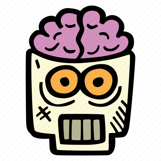 brains, halloween, holiday, scary, skull, spooky icon