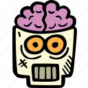 scary, skull, spooky, halloween, brains, holiday icon