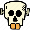scary, skull, spooky, halloween, frankenstein, holiday icon