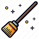 broom, cleaning, halloween, holiday, witch icon