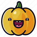 cute, character, halloween, vegetable, pumpkin, holiday, celebration