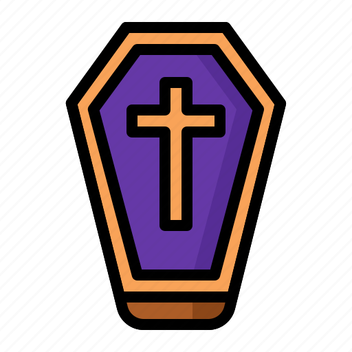 closed, coffin, halloween, mourn icon