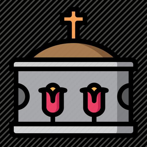 coffin, down, hallowen, lay icon