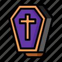 coffin, hallowen, open, purple icon