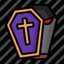 coffin, eye, halloween, open, purple icon