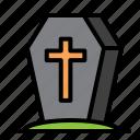 coffin, hallowen, stand, stone icon