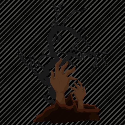 grave, halloween, hand, tombstone icon