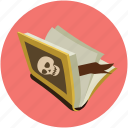 dreadful, fearful, horrible, horror book, knife and book, scary book icon