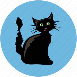 black cat, black evil cat, dreadful, evil cat, fearful, horrible, scary icon