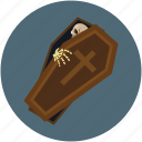 dreadful, halloween casket, halloween coffin, horrible, mummy, scary icon