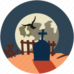 dreadful, fearful, halloween graveyard, horrible, scary icon