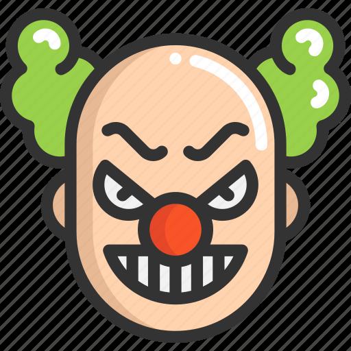 clown, evil, face, halloween icon