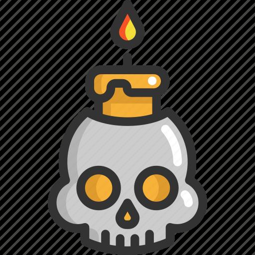fire, halloween, skull icon