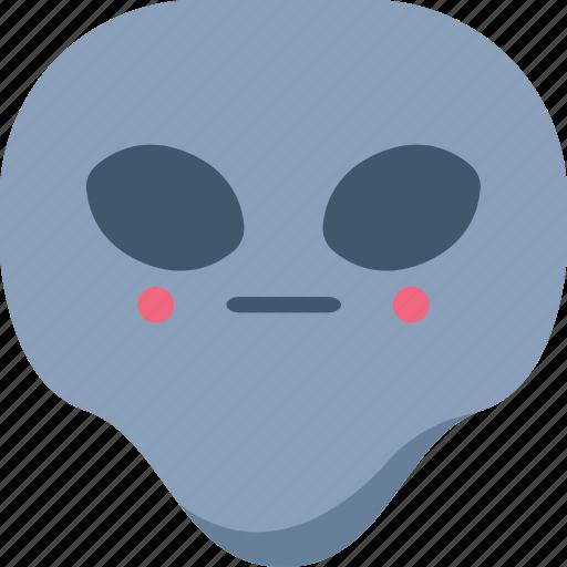 alien, emoji, emoticon, shy, universe icon