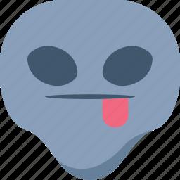 alien, emoji, emoticon, taunt, tongue, universe icon