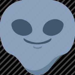 alien, emoji, emoticon, smile, smirk, universe icon