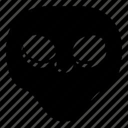 alien, puffy eyes, smile, universe icon