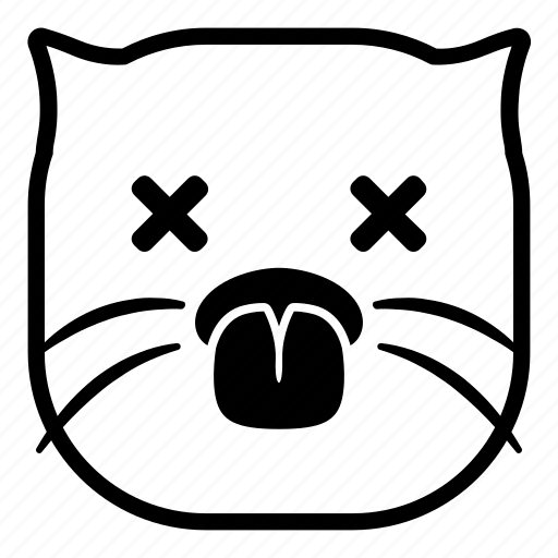 cat, dead, die, pet, taunt, tongue icon