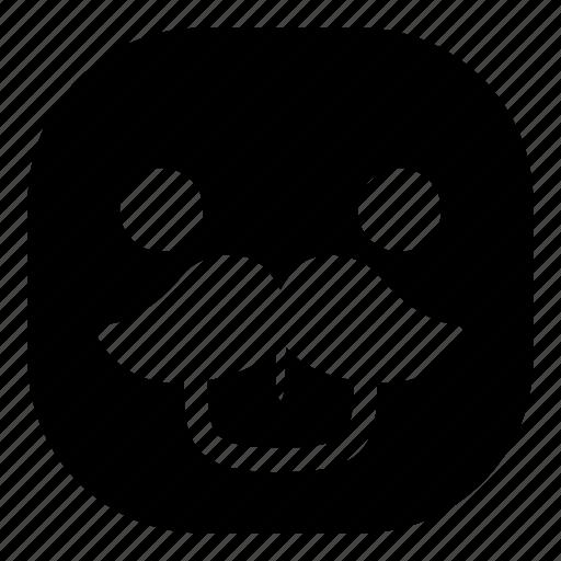 emoji, emoticon, mustache, smiley, taunt, tongue icon
