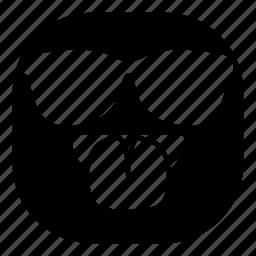 emoji, emoticon, smiley, sunglasses, taunt, tongue icon