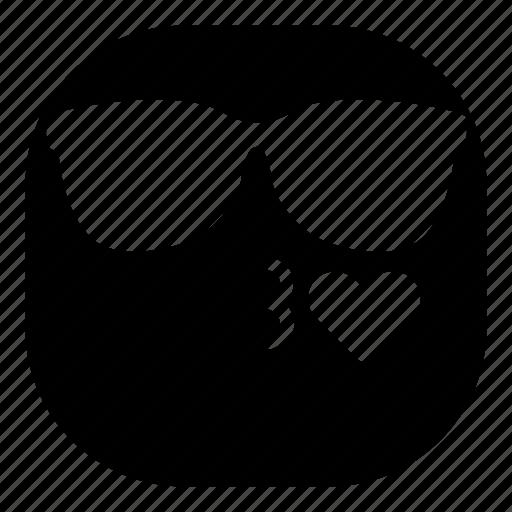 emoji, emoticon, kiss, love, lovely, smiley, sunglasses icon
