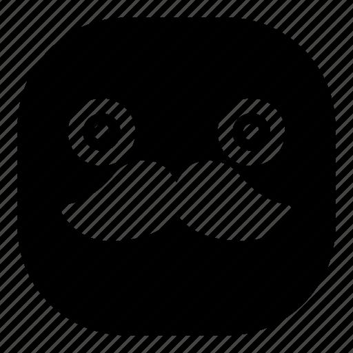 emoji, emoticon, mustache, smiley, surprised icon