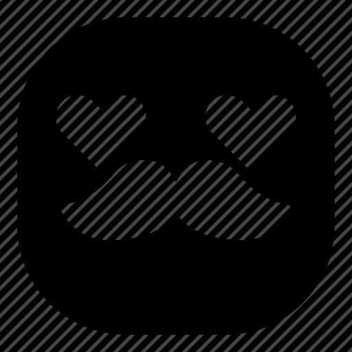 emoji, emoticon, love, lovely, mustache, smiley icon