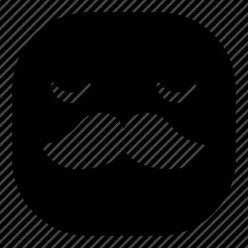 emoji, emoticon, mustache, sad, smiley icon
