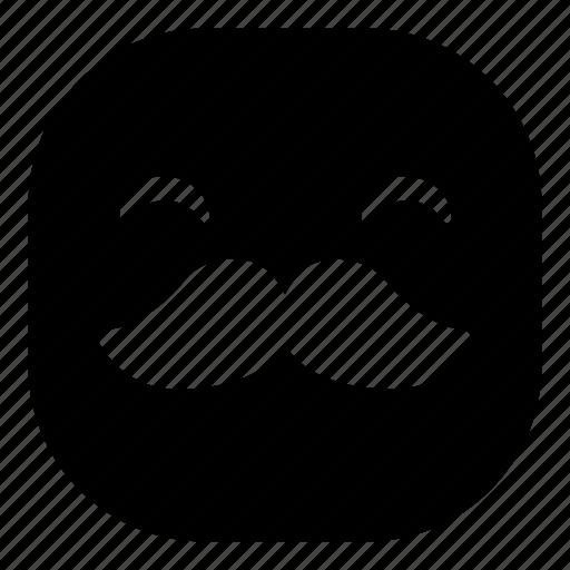 emoji, emoticon, happy, mustache, smiley icon