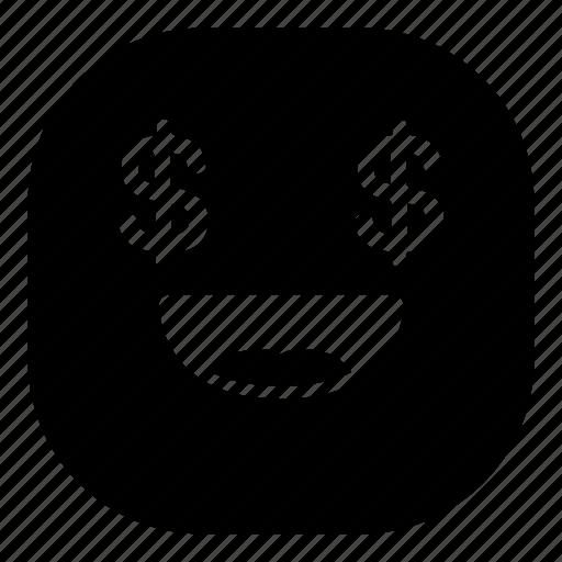 dollars, emoji, emoticon, money, smiley icon