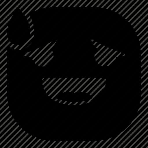 drop, emoji, emoticon, laugh, smiley, surprised icon