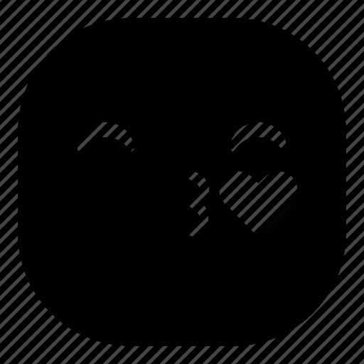 emoji, emoticon, kiss, love, lovely, smiley icon