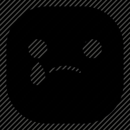 disappointed, drop, emoji, emoticon, sad, smiley, tear icon