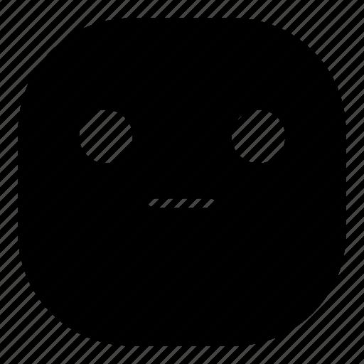 emoji, emoticon, faceless, flat face, smiley icon
