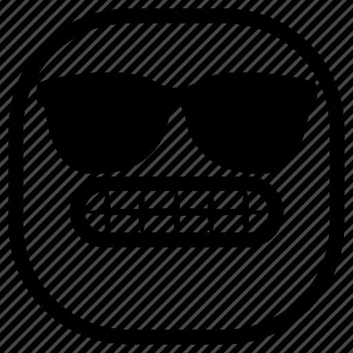 emoji, emoticon, smile, smiley, sunglasses, teeth icon