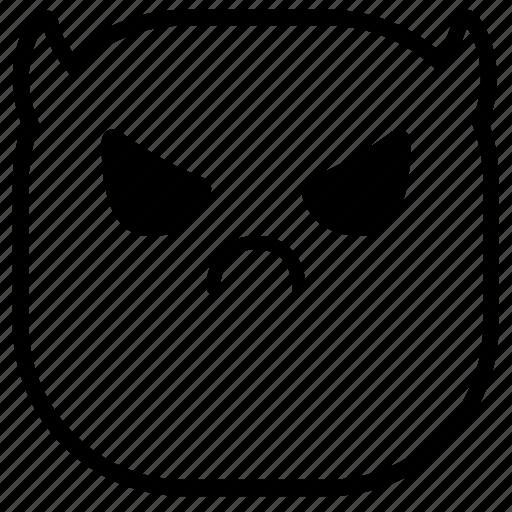 angry, demon, devil, emoji, emoticon, smiley icon