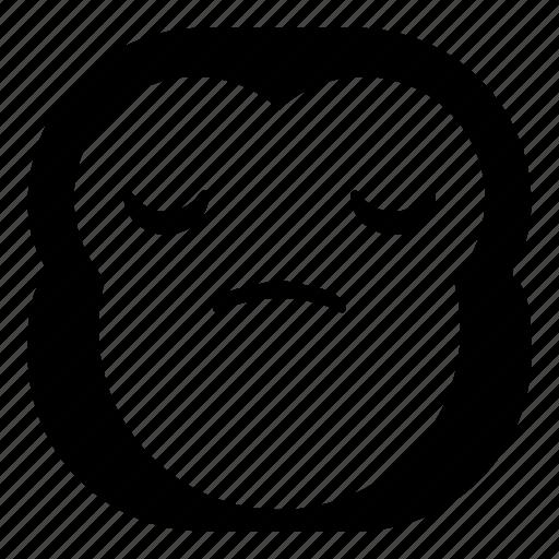 chimp, chimpanse, disappointed, monkey, sad icon