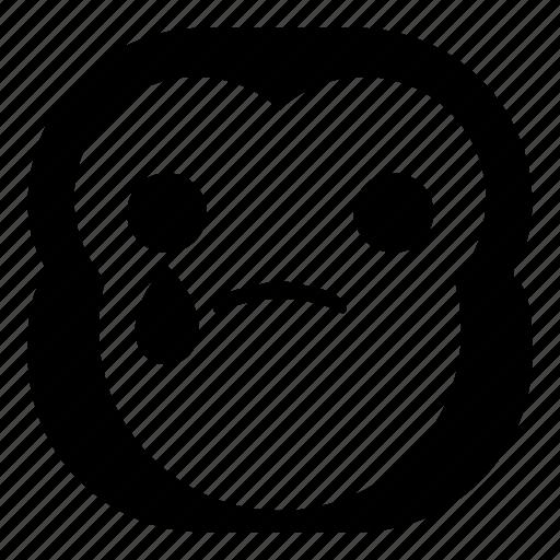 chimp, chimpanse, drop, monkey, sad icon