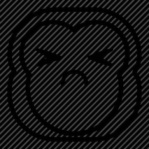 chimp, chimpanse, monkey, sad, sick icon