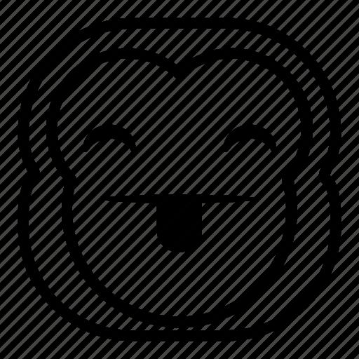 chimp, chimpanse, happy, monkey, taunt, tongue icon